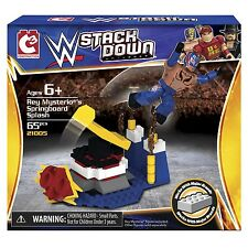 ✿ WWE STACKDOWN REY MYSTERIO'S SPRINGBOARD SPLASH PLAYSET 65 PCS NIP FREE SHIP