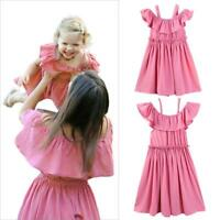 Family Mother Daughter Matching Kid Girls Women Ruffle Casual Pink Dress Outfits
