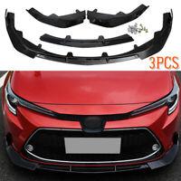 For Toyota Corolla 2019-2020 Glossy Black Front Bumper Lip Body Kit Spoiler 3PCS