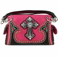 Justin West Cross Embroidery Flowers Leather Concealed Carry Handbag Wallet