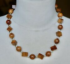 Vintage Glossy Square & Round Wooden Bead Necklace