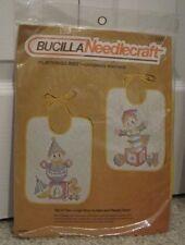 New Vintage Bucilla Set of 2 Playthings Toys Stamped Cross Stitch Baby Bib Kit