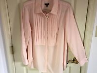 Woman's Talbots size X pink hidden button pleated front polyester blouse