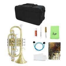 Professional Bb Flat Brass Cornet Set w/ Case Gloves Grease Concert Practice