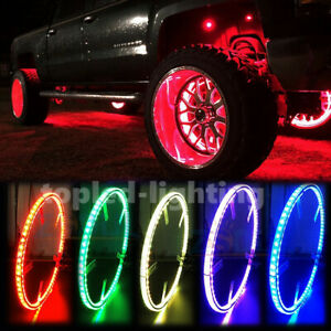 NEW Double Side 17'' RGB Illuminated Bluetooth LED Wheel Rings Light For Trucks