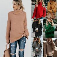 Oversize Knitwear Turtleneck Ladies Sweater Top Winter Chunky Womens Jumper Knit