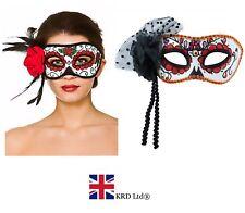 DAY OF THE DEAD ROSE EYE MASK Senorita Halloween Ladies Fancy Dress Accessory UK
