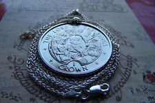 "2003 Lord of the Rings Lotr Isle of Man Crown on a 28"" Italy Silver Wheat Chain"