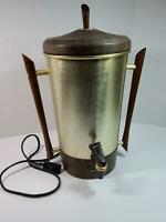 MCM Atomic Tricolator Percolator Coffee Maker Urn 32 cups Walnut Bronze Stand