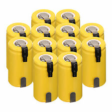 12PCS Yellow Sub C SC 1.2V 1300mAh Ni-Cd NiCd Rechargeable Batteries With Tap