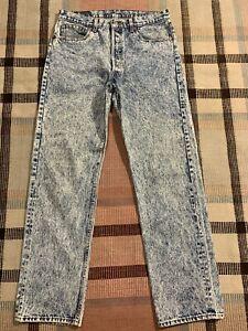 VTG Levi's Acid Wash 501 Button Fly  Denim Jeans Measure 33x32 USA Made!!! 0835