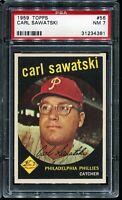 1959 Topps Baseball #56 CARL SAWATSKI Philadelphia Phillies PSA 7 NM