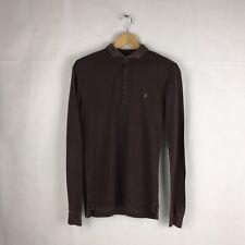 All Saints Mens Long Sleeve Distressed Polo Shirt Brown / Burgundy Sz XS  | A10