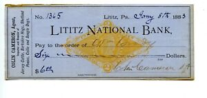 1883.  PA. Lititz National Bank Check    Revenue RN-G1