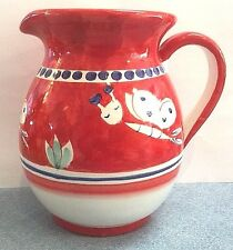 Vietri-Butterfly 1/2liter Pitcher(Chicken campagnaStyle)Paint by hand-Italy NEW!