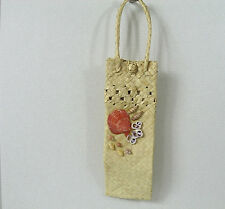 Natural Straw Long Narrow Unlined Bag Rolled Handles Front Seashell Decoration