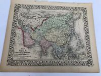 Antique Augustus Mitchell 1871 Map of Asia Political Divisions Routes of Travel