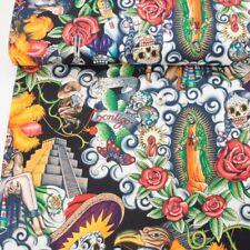 Alexander Henry Fabric Contigo Black PER METRE Sugar Skulls Folk Aztec Mexico Me