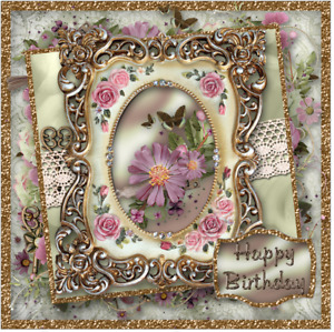 Handmade Victorian gold frame  Mum or friends Birthday card