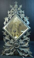 Antique Black Forest Ornately Carved Wood Mirror