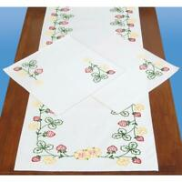 JACK DEMPSEY Stamped for Embroidery Dresser Scarf & Doilies Set STRAWBERRIES