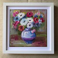 Original oil painting impressionism anemone vase of flowers Impressionism modern