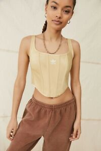 Adidas x Ivy Park Corset Crop Top - Gold Large L Satin EXCLUSIVE NEW WITH TAGS