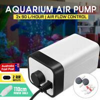 4W Aquarium Air Pump Oxygen Fountain Pond Aerator Water Fish Tank 2 Outlet 3.0L