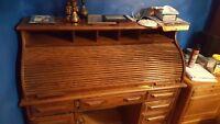 large solid oak roll-top desk