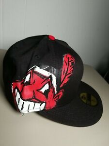 New Era Cap 59FIFTY Cleveland Indians Huge Wahoo Logo Fitted Hat Size 7 3/8
