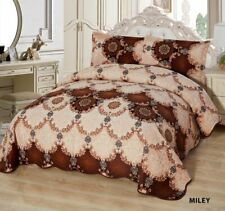 3-Pcs California King Quilted Reversible VELVET Bedspread Coverlet Set - MILEY