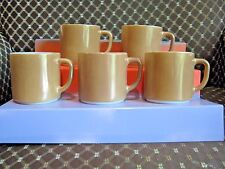 LOT 5 VINTAGE ANCHOR HOCKING FIRE KING D HANDLE LIGHT BROWN COFFEE CUP MUG