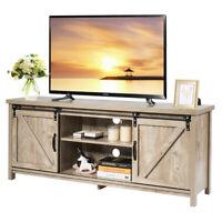"""TV Stand Media Center Console Cabinet Sliding Barn Door for TV's 60"""" White Oak"""