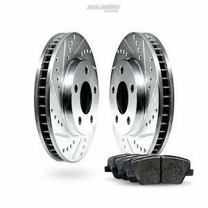 Front Drilled Slotted Brake Rotors and Ceramic Pads For 2010-2013 Suzuki Kizashi