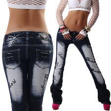 CRAZY AGE Damen Jeans Hose Hüftjeans Bootcut schwarz Stickerei 34 36 38 40 42