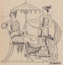 C2975 Greece - Dama che attende alla sua toletta - Xilografia - 1924 engraving