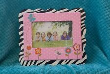 Cute, Wooden 4x6 Zebra Flowers Picture Frame, Girls