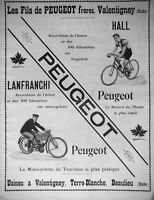 PUBLICITÉ DE PRESSE 1903  PEUGEOT FRÈRES MOTOCYCLETTE BICYCLETTE - ADVERTISING