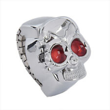 Red Eyes Skull Design Stretchy Band Quartz Ring Watch for Lady Men T6U9