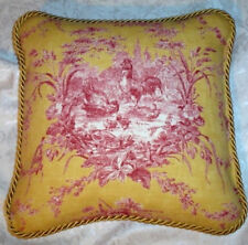 French Country Red Rooster Pillow Provence Gold Yellow Cushion Hen