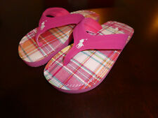 Polo Ralph Lauren Terrence flip flops thongs girls new pink size 4 youth