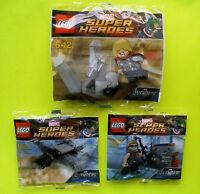 3 Lego Super Heroes 30162 30163 30165 Thor Quinjet Hawkeye Polybag Neu Ovp