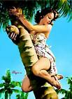 "Vintage GIL ELVGREN Pinup Girl CANVAS ART PRINT Poster Tropical Palm 16""X 12"""