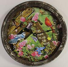 "Song Birds 15"" Vintage Wall Clock Jerry Gadamus Art Wildlife Battery Animal New"