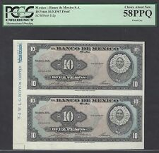 Mexico 10 Pesos 1967 P51lp Uncut sheet Proof About Uncirculated