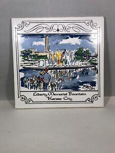 Payne Creations Hand Painted Tile Trivet Kansas City MO Liberty Memorial 2002