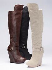 New Colin Stuart Knee High Wedge Heels Boots 7.5 Brown from Victoria Secret