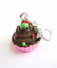 Cupcake pendant dangle Clip On Charm pink Lobster Clasp fits Link Chain C129