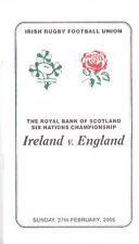 IRELAND v ENGLAND 2005 RUGBY DINNER MENU CARD & GUEST LIST