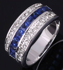 Size 7,8,9,10 Jewelry Mens Womens Blue Sapphire Gold Filled Wedding Ring Gift